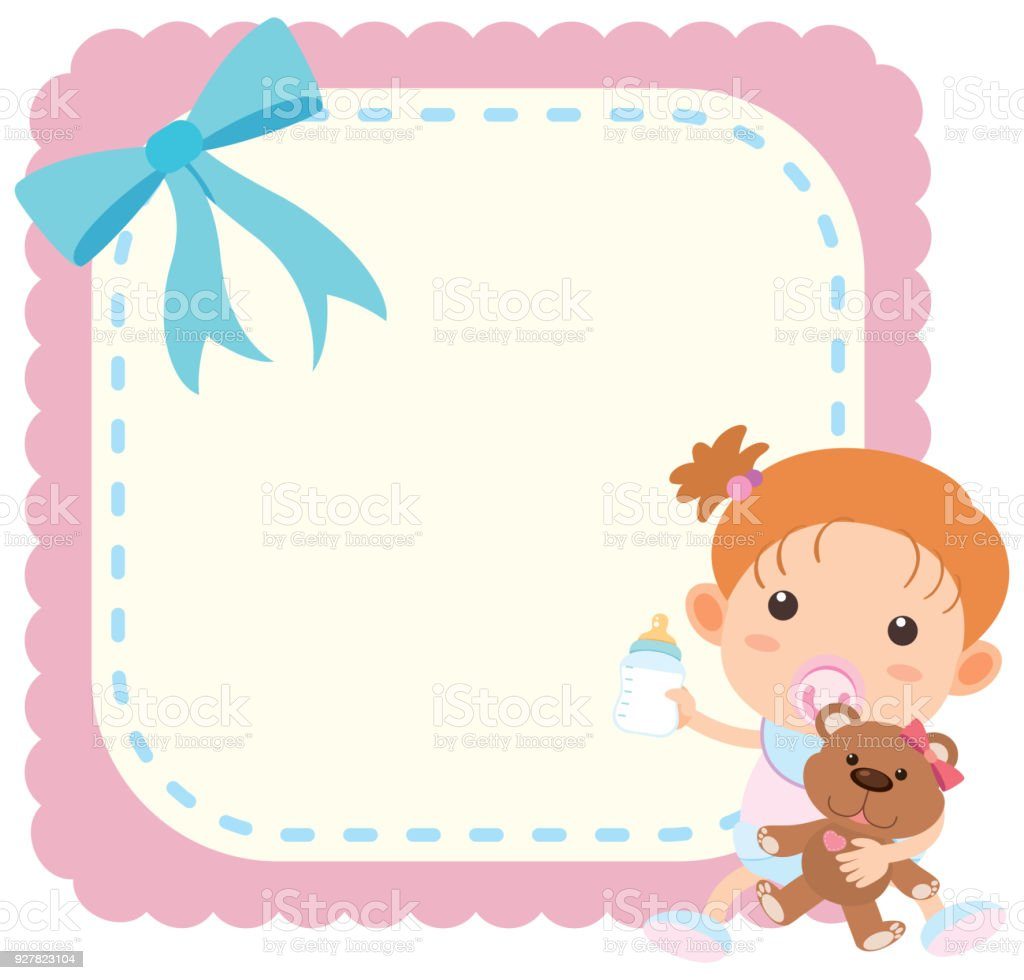 border template wtih baby girl and teddybear stock vector art more