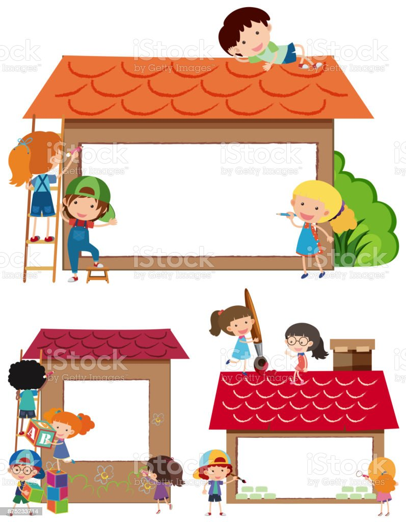 border templates with kids and house royalty free border templates with kids and house stock