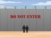 Border wall between United States and Mexico with do not enter sign in English vector illustration