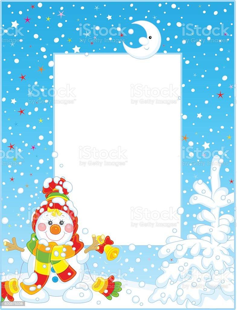 Border with a Christmas Snowman border with a christmas snowman - stockowe grafiki wektorowe i więcej obrazów bałwan śniegowy royalty-free