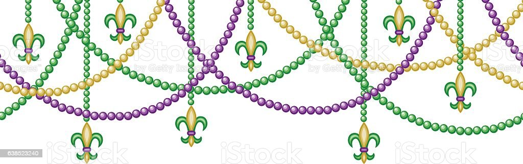 border with beads vector art illustration