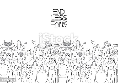 istock Border with cheering fans 614629316