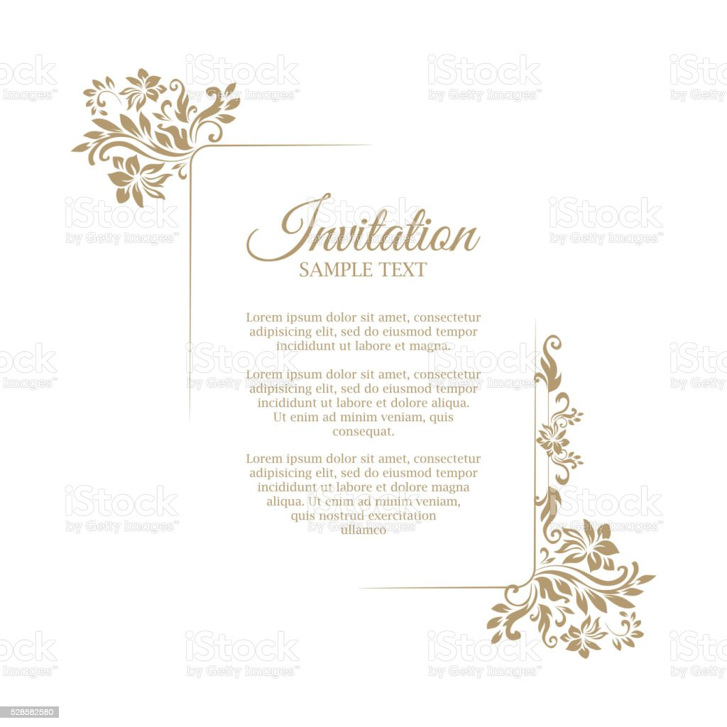 Border With Classic Floral Decorative Pattern Template For Greeting