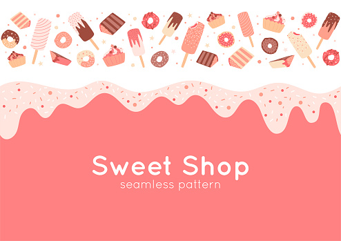 Border with donuts, cupcakes, ice cream, sprinkles. Seamless pattern with sweet food in pink pastel colors.