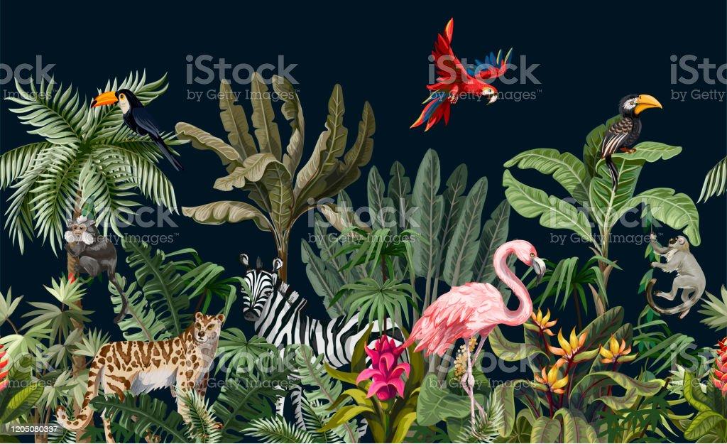 Grenze mit Dschungeltieren, Blumen und Bäumen. Vektor - Lizenzfrei Abstrakt Vektorgrafik