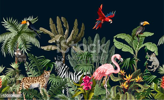 Seamless border with jungle animals, flowers and trees.