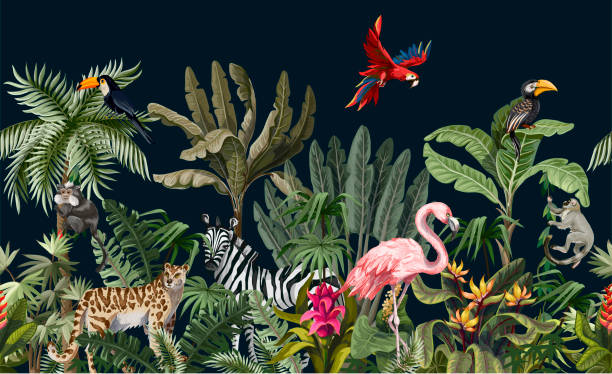 border with jungle animals, flowers and trees. vector - jungle stock illustrations