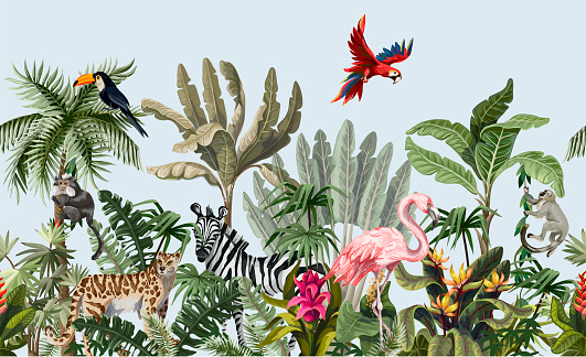 Border with jungle animals, flowers and trees. Vector