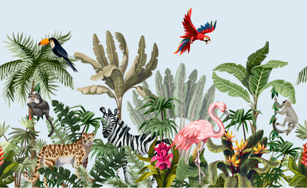 Border with jungle animals, flowers and trees. Vector Seamless border with jungle animals, flowers and trees. animals background stock illustrations