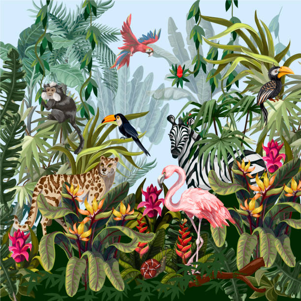 Border with jungle animals, flowers and trees. Vector Seamless border with jungle animals, flowers and trees. exotic animals stock illustrations