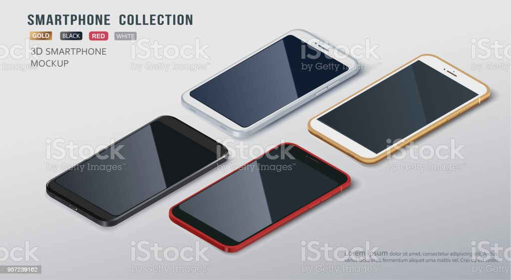 borderless slim smartphone collection mockups with isolated on white background. Vector illustration. For printing, website element, banner and advertising.