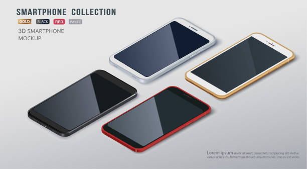 borderless slim smartphone collection mockups with isolated on white background. vector illustration. for printing, website element, banner and advertising. - angle stock illustrations
