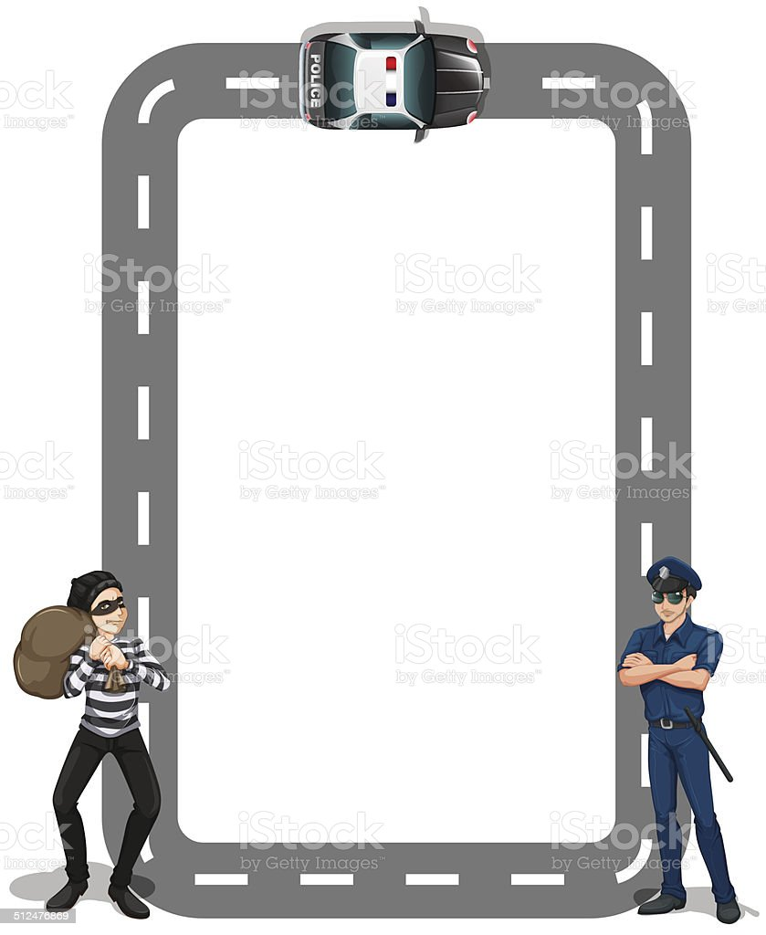 Borderline with a thief and a policeman vector art illustration