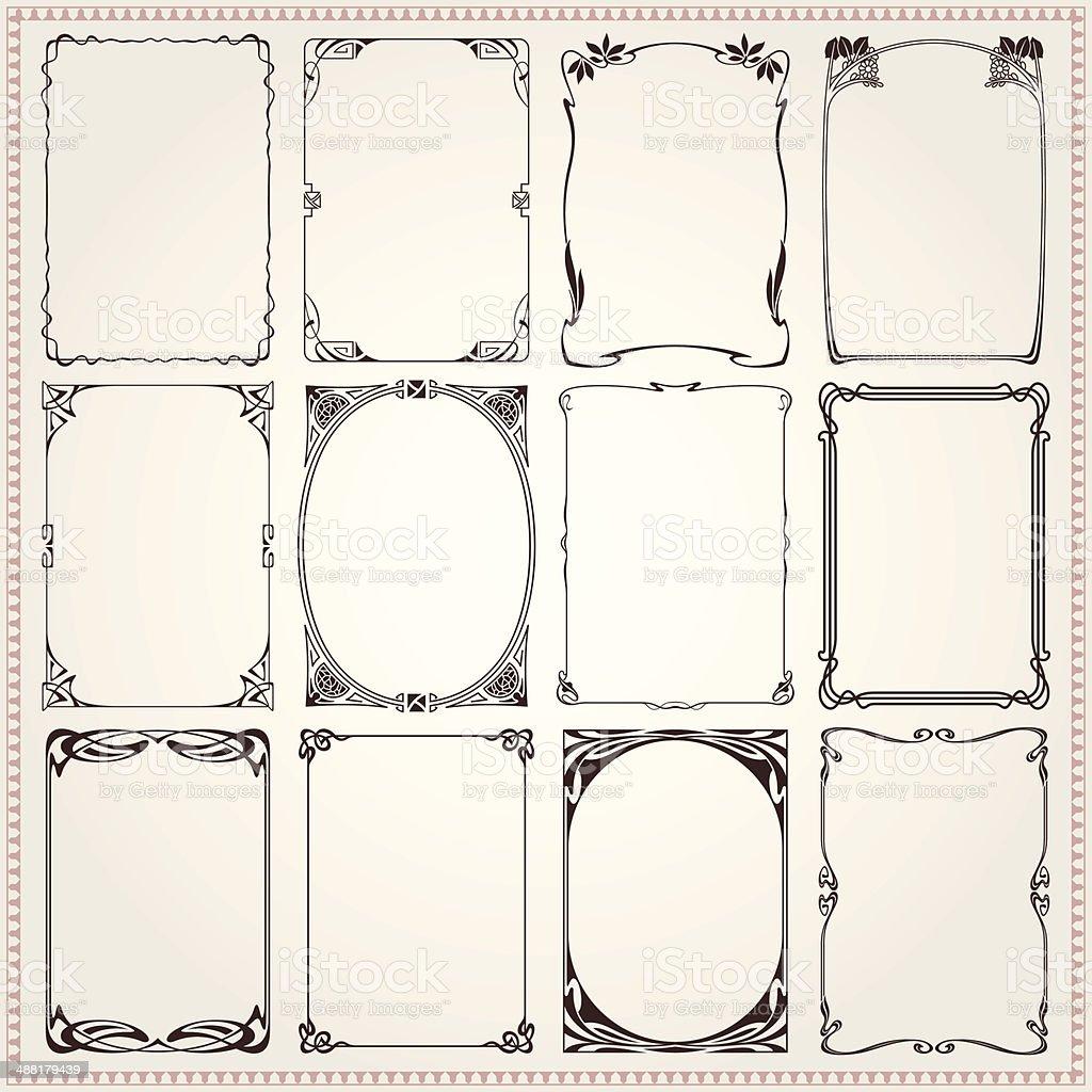 Bordes y marcos de estilo Art Nouveau ilustración de bordes y marcos de estilo art nouveau y más vectores libres de derechos de anticuado libre de derechos