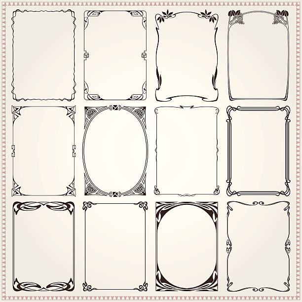 borders and frames art nouveau style - art nouveau stock illustrations, clip art, cartoons, & icons