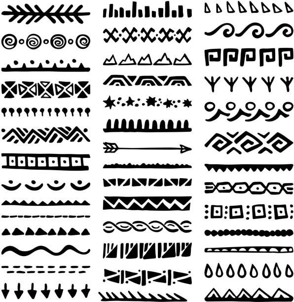 Borders Collection in Ethnic Style Collection of Hand Drawn Borders in Ethnic Style. Aztec art dividers. Trendy boho separators. indigenous culture stock illustrations