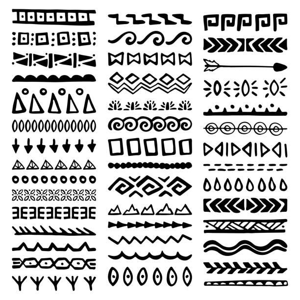 stockillustraties, clipart, cartoons en iconen met borders-collectie in etnische stijl - tribale kunst