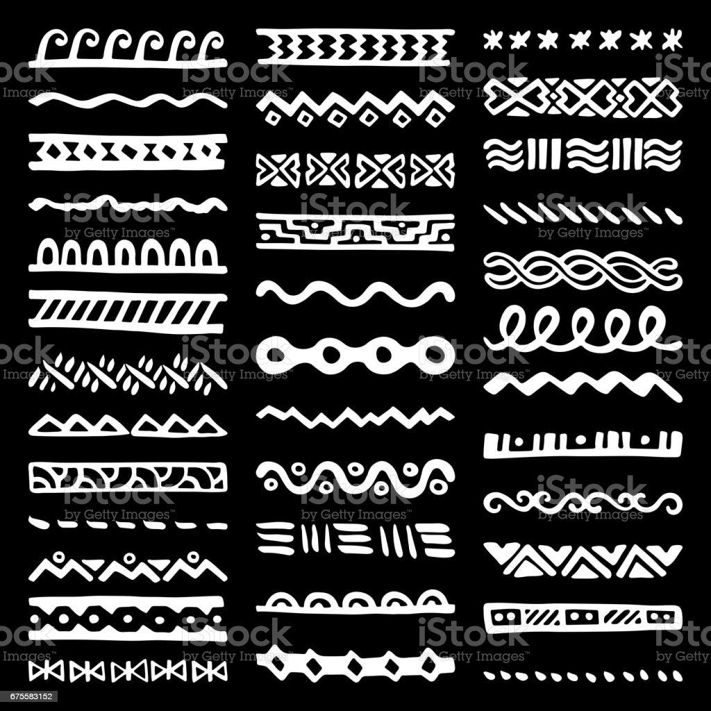 Collection Borders en Style ethnique collection borders en style ethnique – cliparts vectoriels et plus d'images de abstrait libre de droits