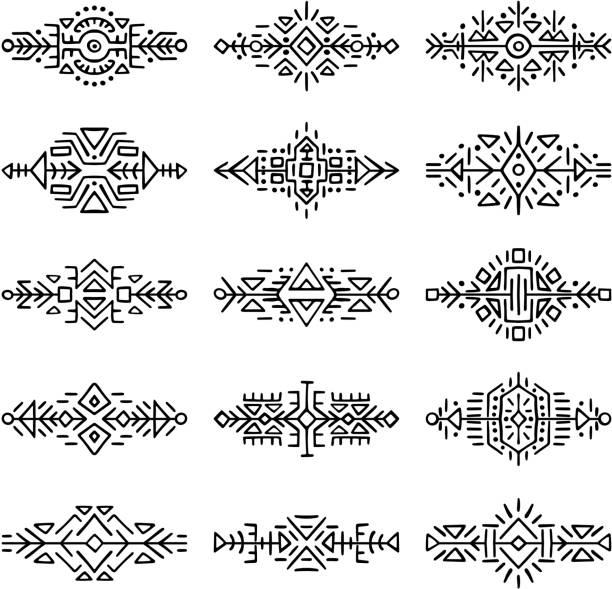 borders collection in ethnic style - tribal tattoos stock illustrations, clip art, cartoons, & icons