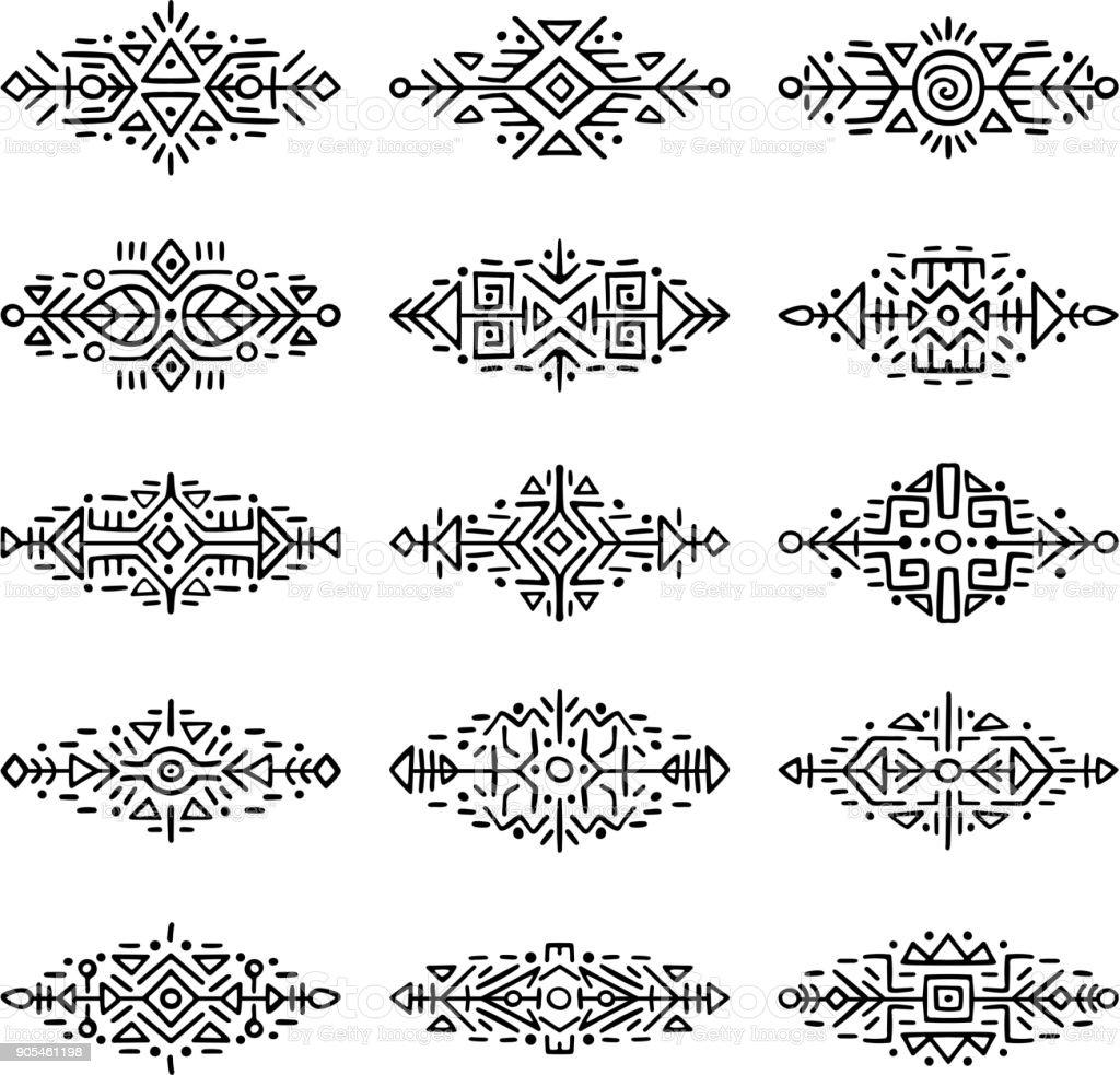 Colección fronteras de estilo étnico - ilustración de arte vectorial