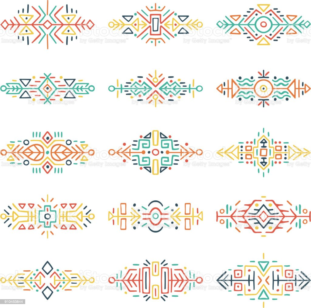 Borders Collection in Ethnic Style vector art illustration