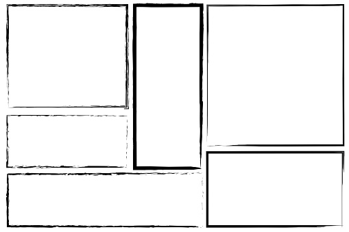 Borders of rectangle frames. Square brush drawn vector. Set of hand drawn frames. Stock photo.