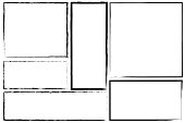 istock Borders of rectangle frames. Square brush drawn vector. Set of hand drawn frames. Stock photo. 1266731789