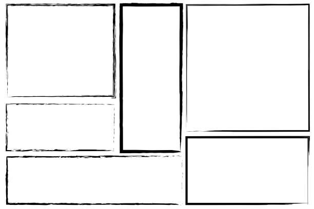 Borders of rectangle frames. Square brush drawn vector. Set of hand drawn frames. Stock photo. Borders of rectangle frames. Square brush drawn vector. Set of hand drawn frames. Stock photo. frame border stock illustrations