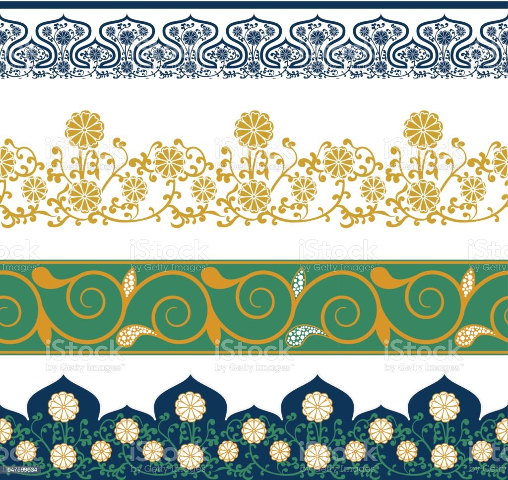 Borders Seamless Patterns With Chinese Floral Ornament Vector