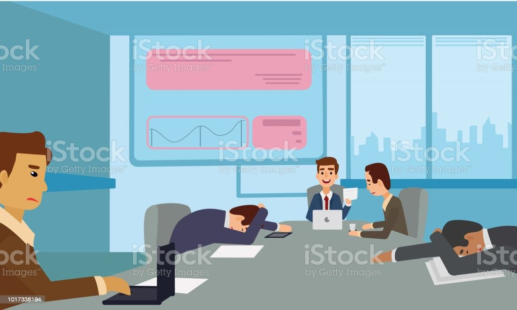 Bored and tired business team sleeping at presentation in office. vector art illustration