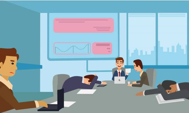 illustrazioni stock, clip art, cartoni animati e icone di tendenza di bored and tired business team sleeping at presentation in office. - noia