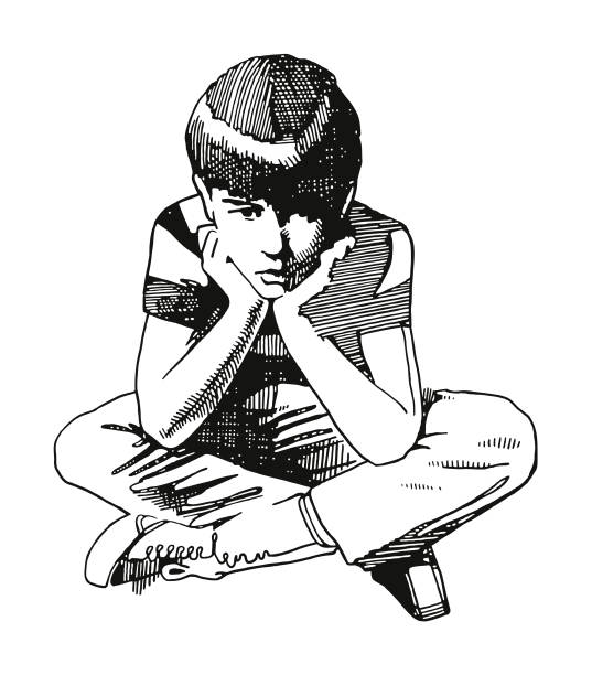 bored boy - скука stock illustrations