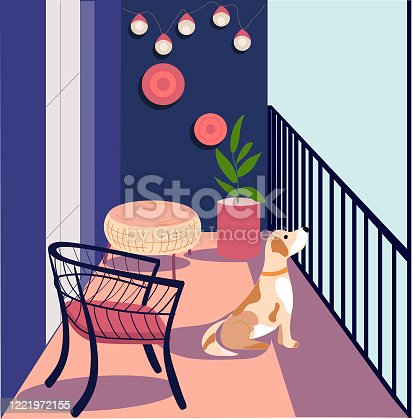 istock Bored dog on the balcony. The dog is sitting on the balcony. Expectation. Dog in quarantine 1221972155