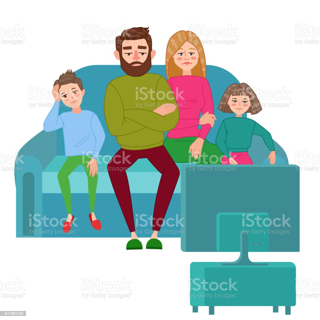 Bored Family Watching TV. Television Addiction. Unhappy Parents with Children Sitting on Sofa behind TV Set. Vector illustration vector art illustration