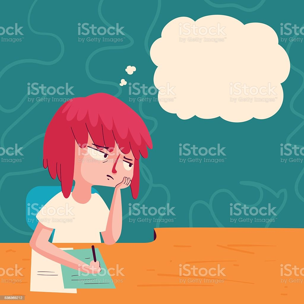 Bored Girl with Thought Balloon vector art illustration