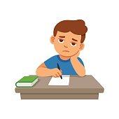 Bored kid doing homework or sitting on boring school lesson. Cute cartoon vector illustration.