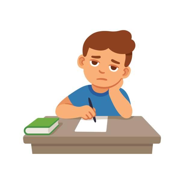 ilustrações, clipart, desenhos animados e ícones de garoto entediado na escola - aula de redação
