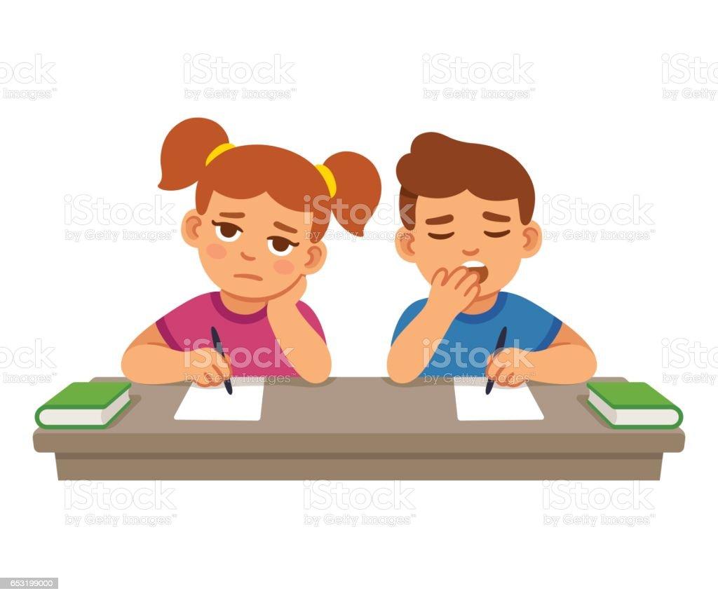 Bored kids at school vector art illustration