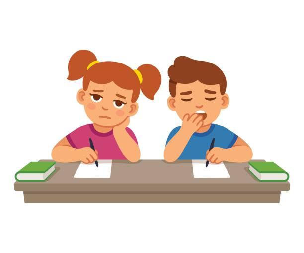 ilustrações, clipart, desenhos animados e ícones de entediado de crianças na escola - aula de redação
