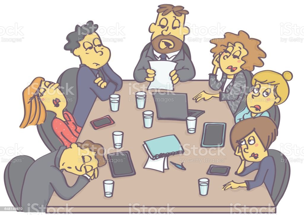 boring people clipart. boring business meeting royalty-free stock vector art people clipart