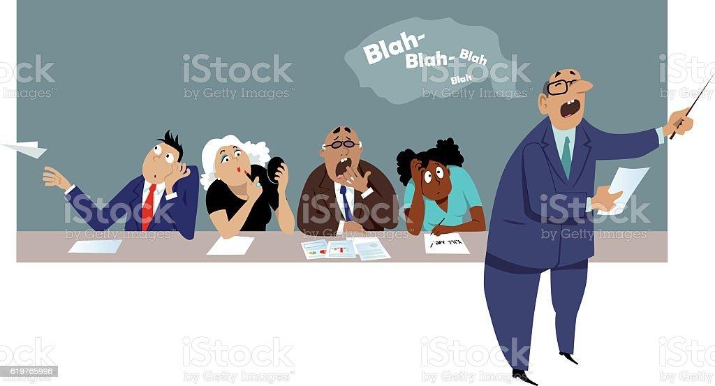 Boring meeting vector art illustration
