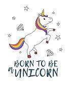 Unicorn illustration. Kids graphics for t-shirt