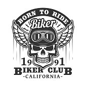 Biker club badge of skull in motorcyclist glasses and helmet with wings. Vector retro icon of rocker bikers for t shirt or tattoo emblem, grunge skeleton on motorbike races
