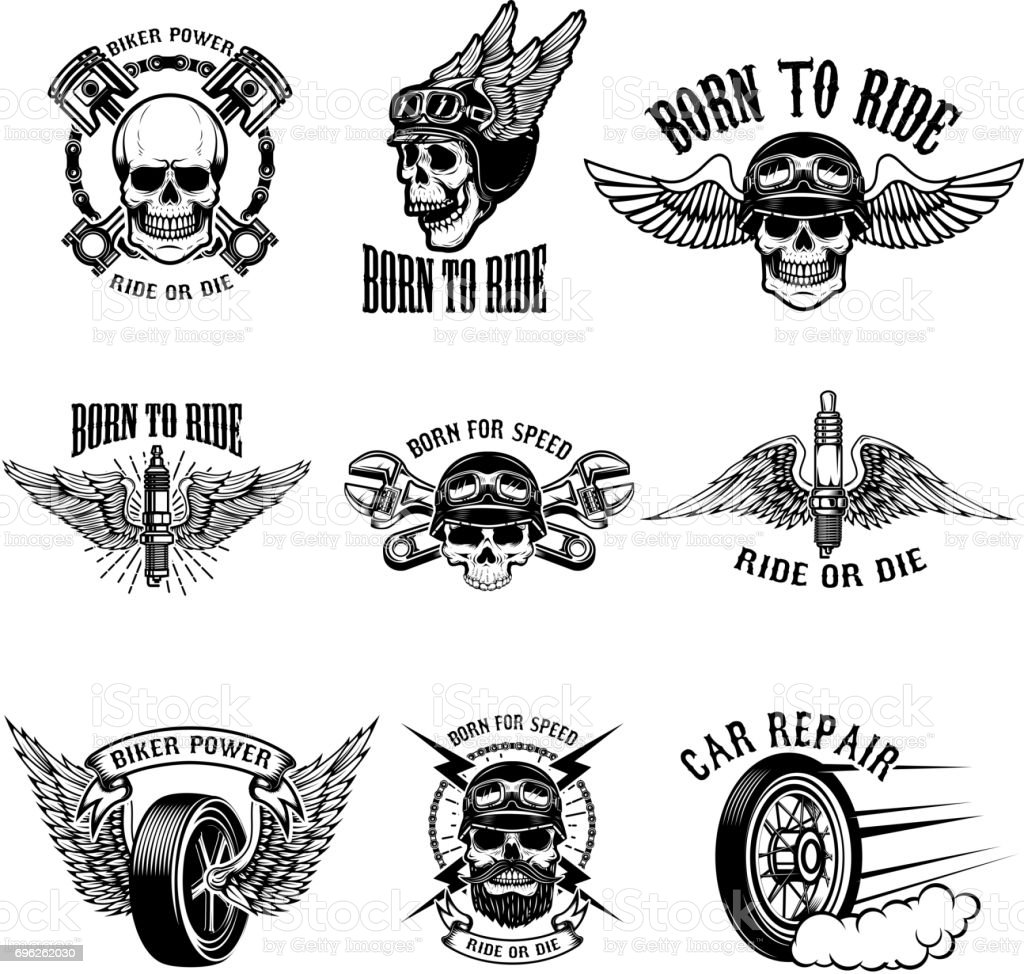 Born to ride. Set of the emblems with racer skulls. Biker club labels. Vector illustrations. vector art illustration