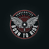 Born to Ride typographic design for t-shirt print. Global flat colors. Layered vector illustration.
