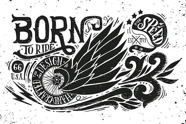 ilustraciones, imágenes clip art, dibujos animados e iconos de stock de born to ride - tatuajes de alas