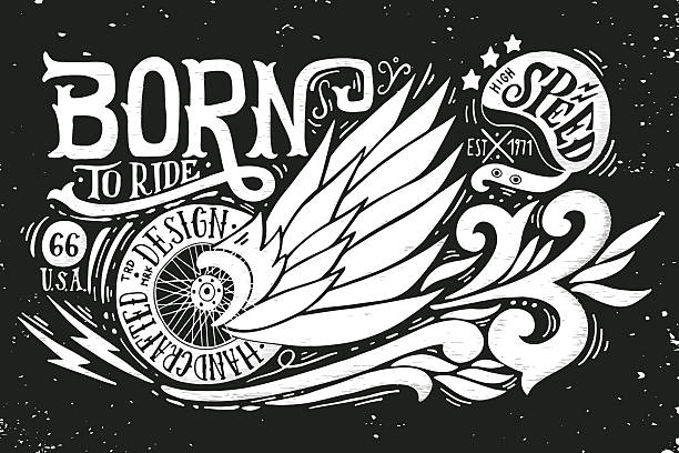 Born to ride vector art illustration