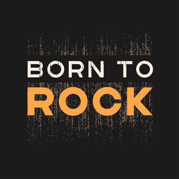 Nacidos de rock t-shirts y ropa de diseño con efecto grunge y con textura letras. Vector de impresión, tipografía, cartel, emblema. - ilustración de arte vectorial