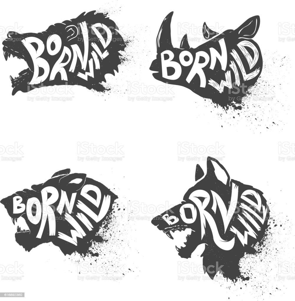 Born wild. Wild animals heads vector art illustration