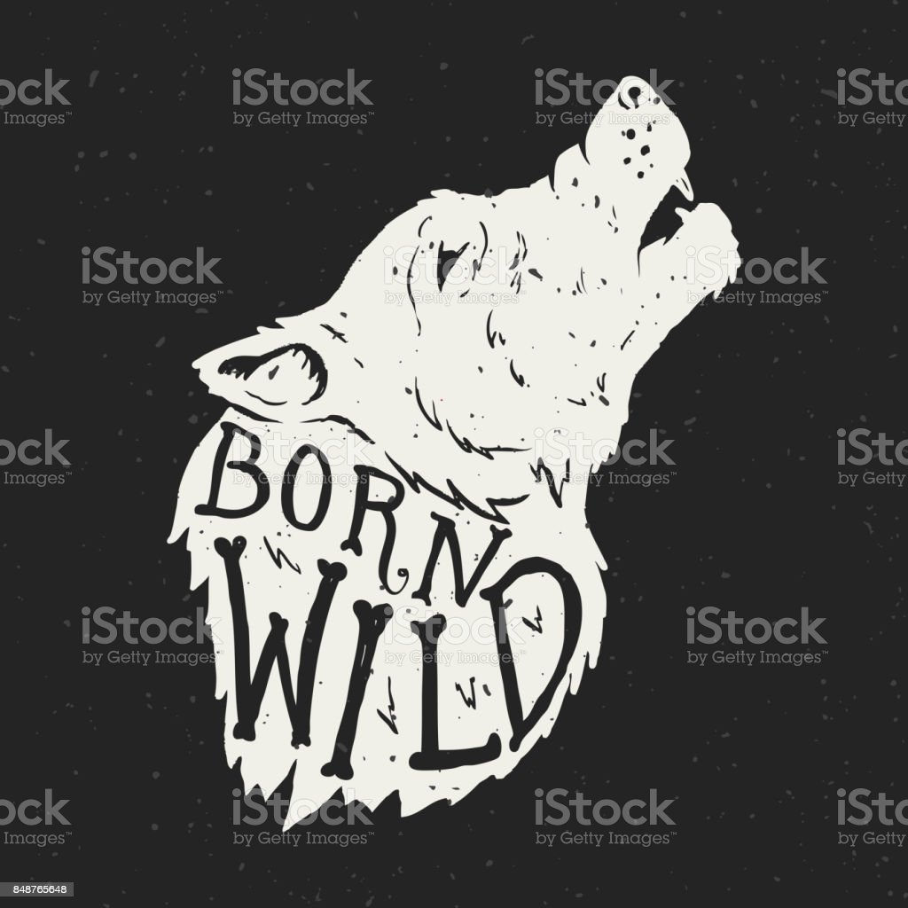 born wild wolf head on grunge background tshirt print template stock